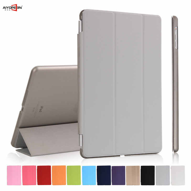 for new ipad 9.7 2017 case,aiyopeen pu leather smart wake up sleep with matte tranparent hard pc back cover 3-fold flip stand for ipad air2 case pu leather smart wake up sleep solid pc back cover magnetic flip stand origimi brand aiyopeen with gift