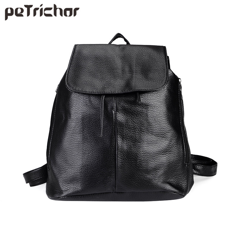 Petrichor Simple Style Women PU Leather Backpacks For Teenage Girls School Bags Casual Solid String Softback Shoulder Bag women backpack large school bags for teenage girls shoulder bag vintage pu leather backpacks black casual solid rucksack xa83h