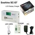 New soshine lcd carregador de bateria com carregador de carro para li-ion 18650 14500 16340 aaa nimh ni-mh carregador lanterna 100-240 v