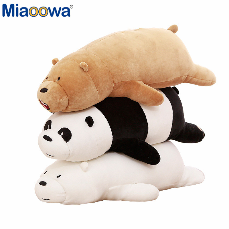 70/90CM We Bare Bears Cartoon Three Bears Stuffed Grizzly Gray White Bear Panda Plush Toy Doll Kawaii Birthday Gift for Kids