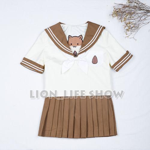 JK Mujeres Marinero Uniforme Escolar japonés Hámster de Manga Corta Falda Plisada