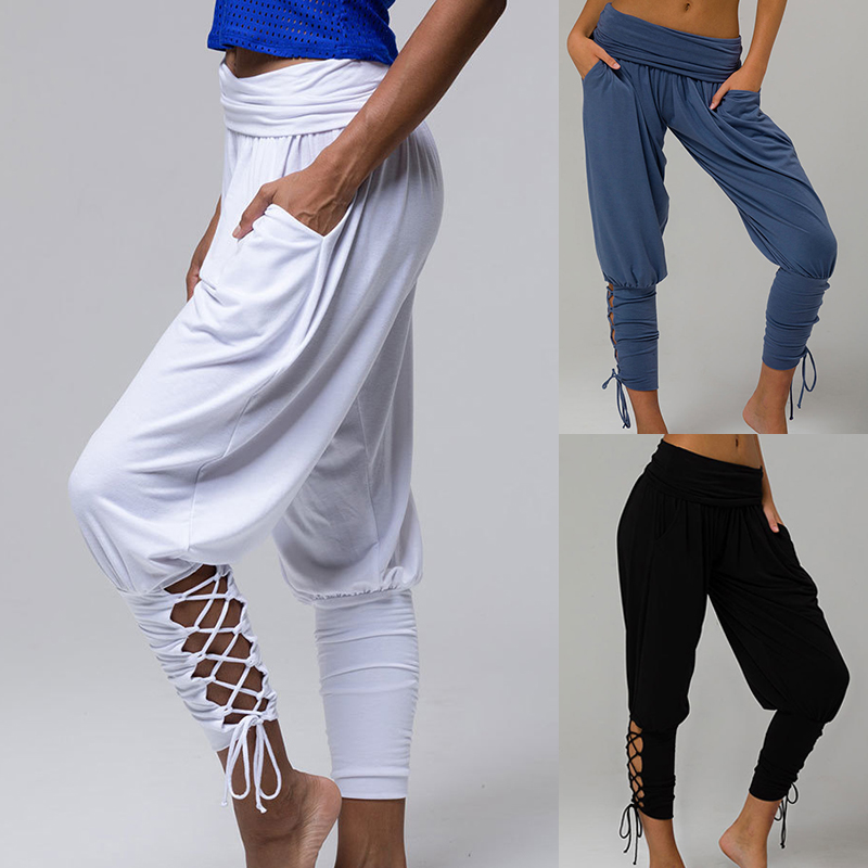 New Women Harem Pants Leggings Baggy Aladdin Boho Hippy Pants Criss Cross Jogger pants Solid High Waist Trousers Comfy Pants