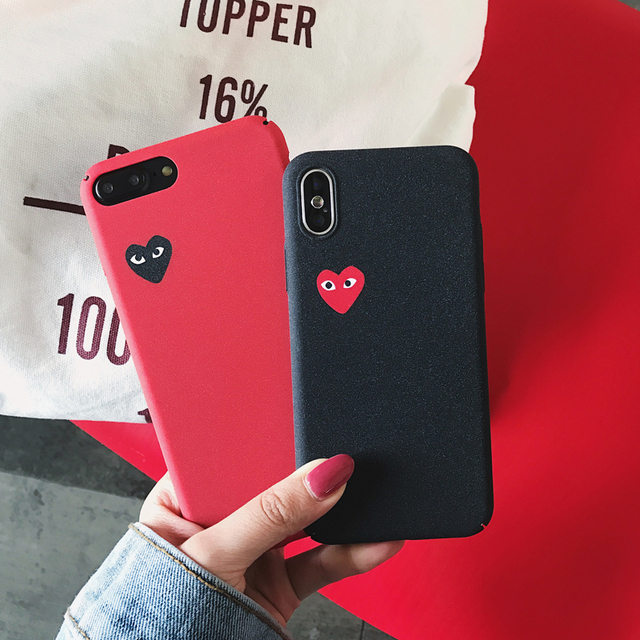 sports shoes 384d7 fd8f1 Japan tide brand CDG PLAY Comme des Garcons Loving eyes case cover for  iphone 7 plus 6 6S X 8 plus XR XS MAX Frosted phone cases