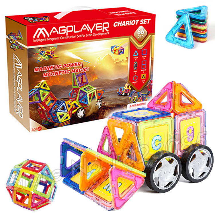 ФОТО 66pcs/set 3D DIY Magnetic Blocks With Car Wheels Building Blocks TOY 3D Brain Training ABS plastic magnets Designer Toys Gifts