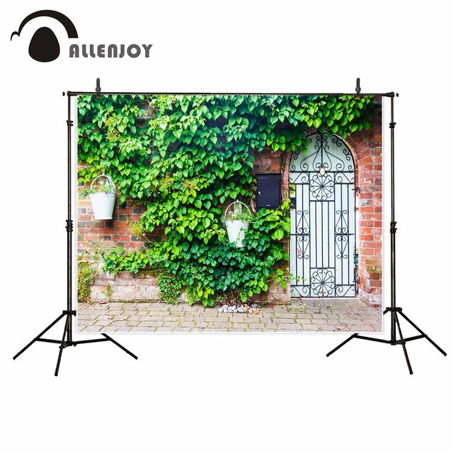 Allenjoy Garden door brick wall city street green leaves beautiful background photography backdrops decorations for home
