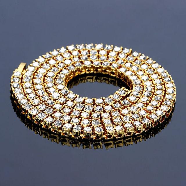 Hip Hop Gold Chain 1 Row 5mm Round Cut Tennis Necklace