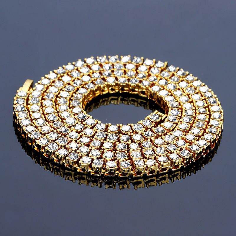 Hip Hop de oro Cadena de 1 fila 5mm redondo corte directo collar de cadena 20 pulgadas 30 pulgadas Punk Mens helado de cadena de diamantes de imitación collar de la joyería