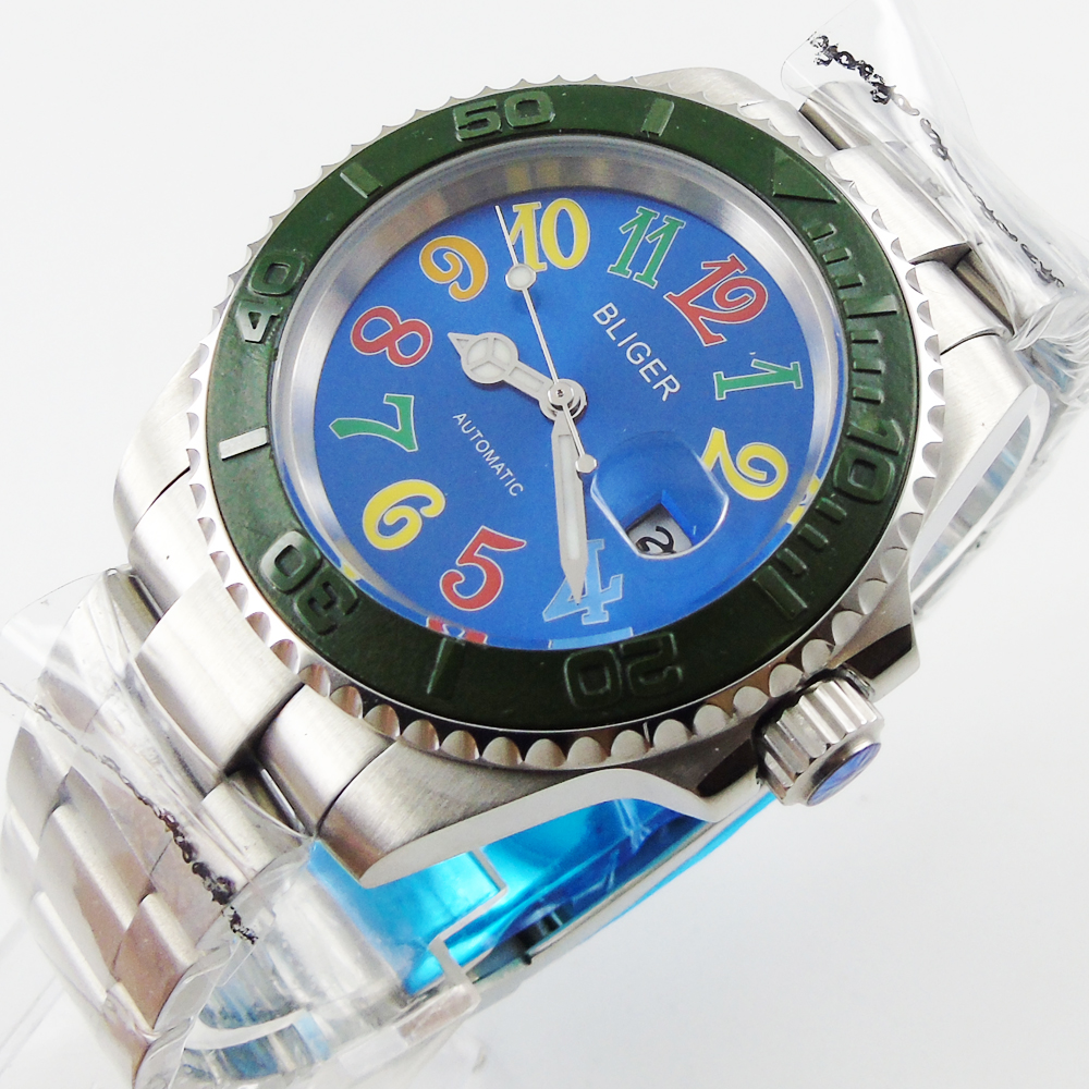 Bliger 40mm blue dial date Ceramics Bezel colorful marks saphire glass Automatic movement Men's watch зубная электрощетка braun oral b 500 d16 professional care d16 513u d10 51k