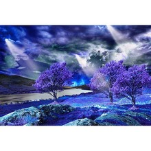 Landscape Full Square/Round Drill 5D DIY Diamond Painting Dream Purple Tree 3D Embroidery Cross Stitch Home Decor