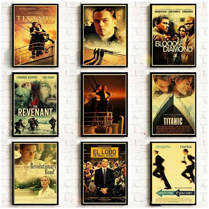 Leonardo DiCaprio Classic Movie TITANIC THE REVENANT BLOOD DIAMOND Retro Poster Home Room Decorative Painting Wall Sticker