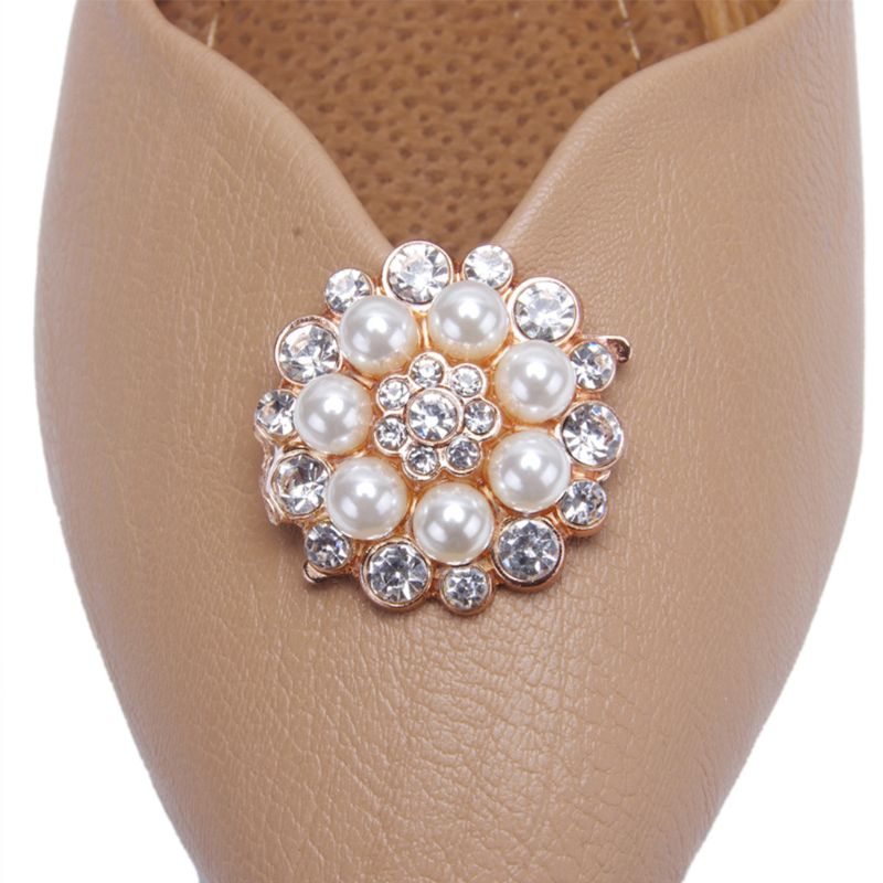 2 Pcs/Set Shoe Clip Women Lady Shoes Decoration DIY High Heel Sandals Charms Luxury Pearl Rhinestone Fashion Unique Floral Ornam