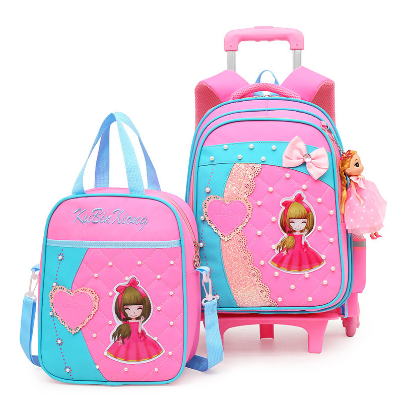 Fashion lovely Trolley School bag For Girls Removable cartoon School Backpack on Wheels Children Bookbag kids Schoolbag mochila-in School Bags from Luggage & Bags    1