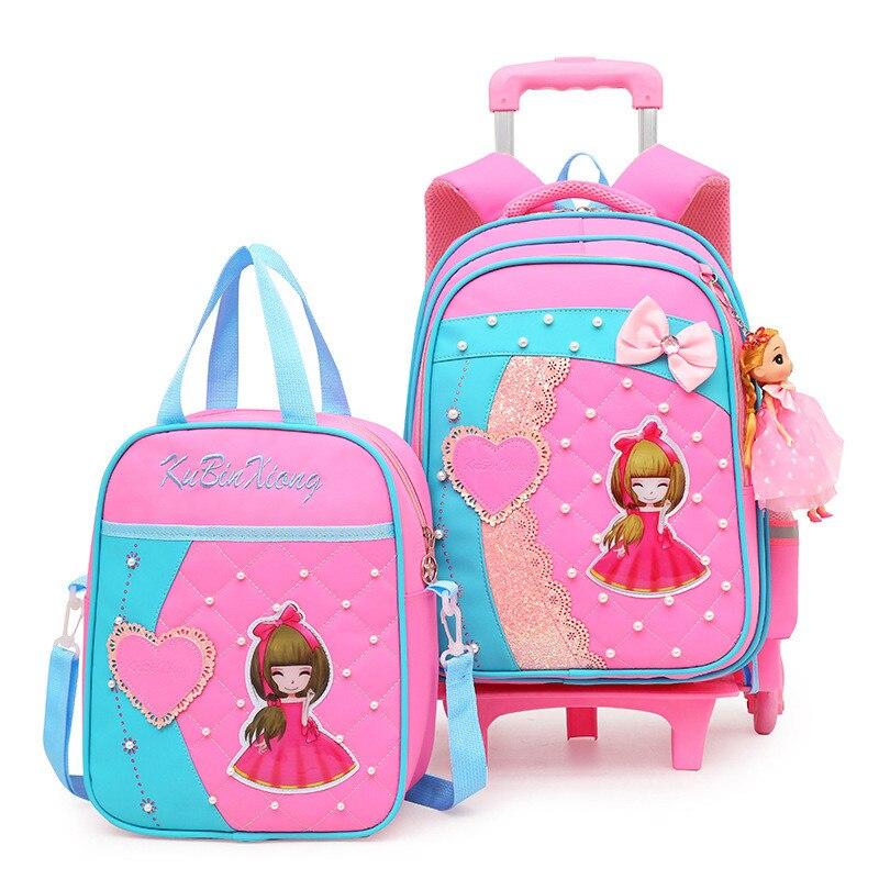 여자를위한 유행 사랑스러운 트롤리 학교 부대 바퀴에 이동할 수있는 만화 학교 책가방 아이들 bookbag 아이 schoolbag mochila-에서학교가방부터 수화물 & 가방 의  그룹 1