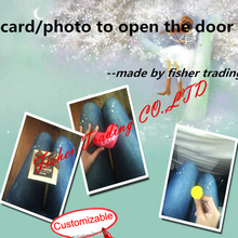 escape chamber game prop, card to open the door, photo or objects in sequence to open the lock