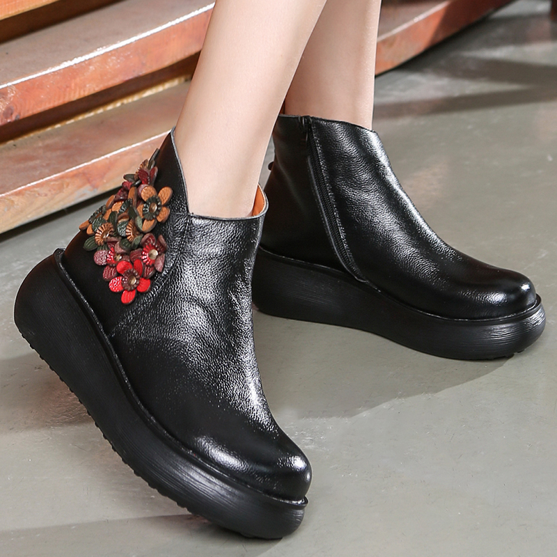 Women Leather Boots Flower 5 CM High Heel Wedge Shoes Winter Warm Leather Ankle Boots Women Handmade Retro Set Foot Lazy Shoes women leather ankle boots black 5 cm high heels wedge shoes winter warm short plush retro martin boots leather women handmade