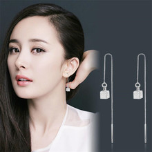 Everoyal Charm Square Silver 925 Earrings For Girls Accessories Trendy Women Tassel Long Earring Female Jewelry Summer Hot Sale