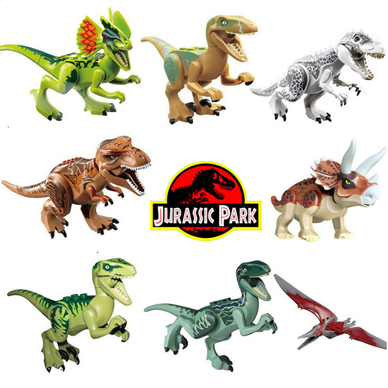 8pcs Dinosaur DIY Assembly Building Blocks Dino Toys Jurassic World Bricks Christmas Birthday Gift Educational Toy Legoings цена