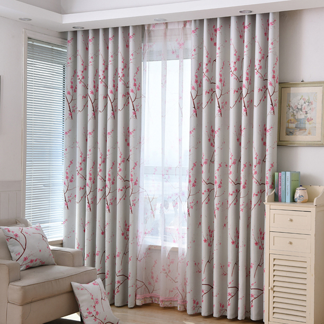 Rustic Floral Printed Curtain Panels Plum Flower Design Home Decoration Drapery For Living Room Pink