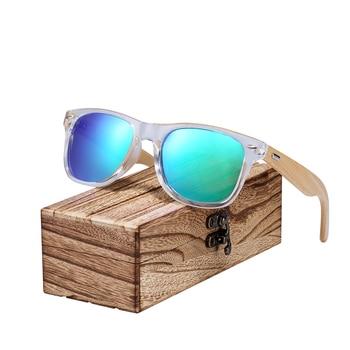 Lunettes de soleil Transparent en bois de Bambou – Wayfarer – Coffret en bois