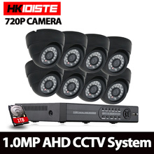 8 Channel 720P Dome Vandal-Proof 8Ch HD AHD Camera DVR Kit 1.0MP IR 30m indoor Surveillance Security CCTV Camera System 1TB HDD