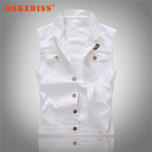 873f3628791 Denim vest mannen witte Mode 2017 Colete jeans hiphop Mouwloze jas Vest  Heren vest colete jeans