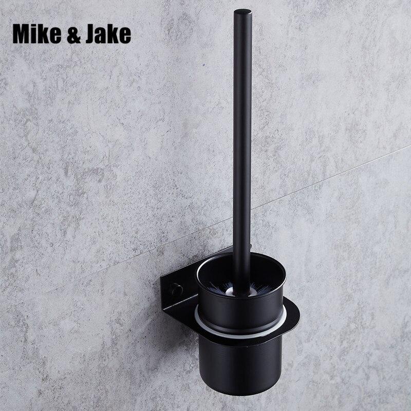 Free Shipping 304 Black Bathroom Brush Holder Set Solid Stainless Steel 304 Black Finished Toilet Brush Rack Bathroom Brush