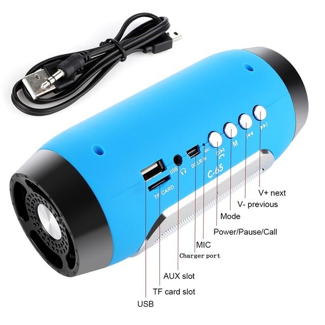 TOPROAD HIFI Portable wireless Bluetooth Speaker Stereo Soundbar TF FM Radio Music Subwoofer Column Speakers for Computer Phones