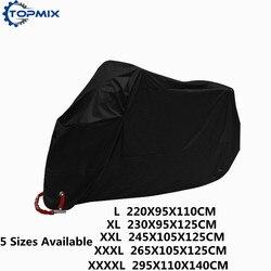L XL XXL XXXL XXXXL 190 طن أسود غطاء دراجة نارية في الهواء الطلق الأشعة فوق البنفسجية حامي للماء المطر الغبار غطاء مكافحة سرقة مع قفل هول