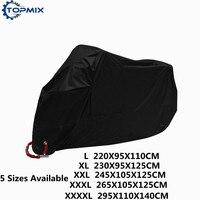 L XL XXL XXXL XXXXL 190T Black Motorcycle Cover Outdoor UV Protector Waterproof Rain Dustproof Cover