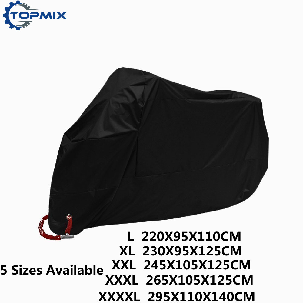 L XL XXL XXXL XXXXL 190T Black Motorcycle Cover Outdoor UV Protector Waterproof Rain Dustproof Cover Anti-theft with Lock Hole
