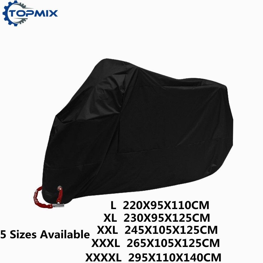 L XL XXL XXXL XXXXL T 190 T negro cubierta de la motocicleta al aire libre UV Protector impermeable a prueba de polvo cubierta Anti-robo con agujero de bloqueo