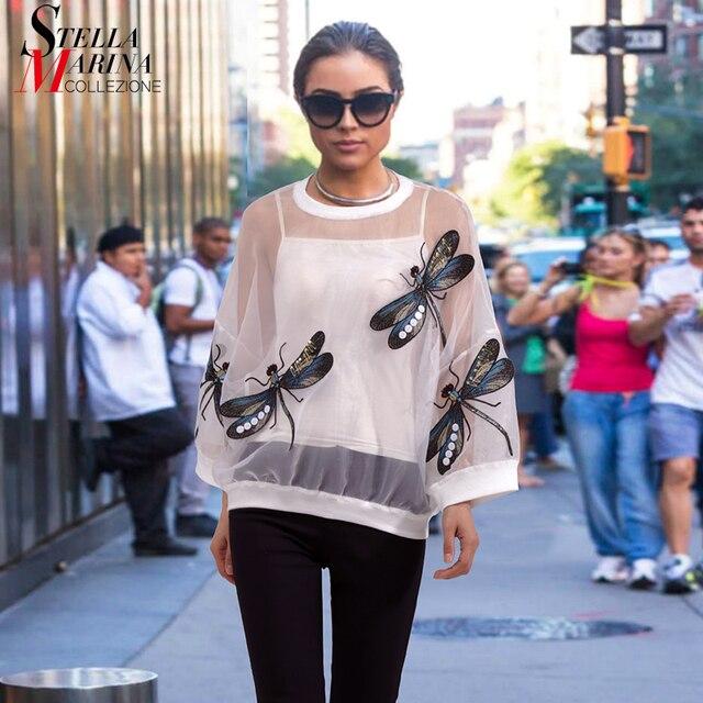b0605b10d24 2018 Summer Women Black White Plus Size Mesh Top Tee Dragonfly Long Sleeve T -shirt