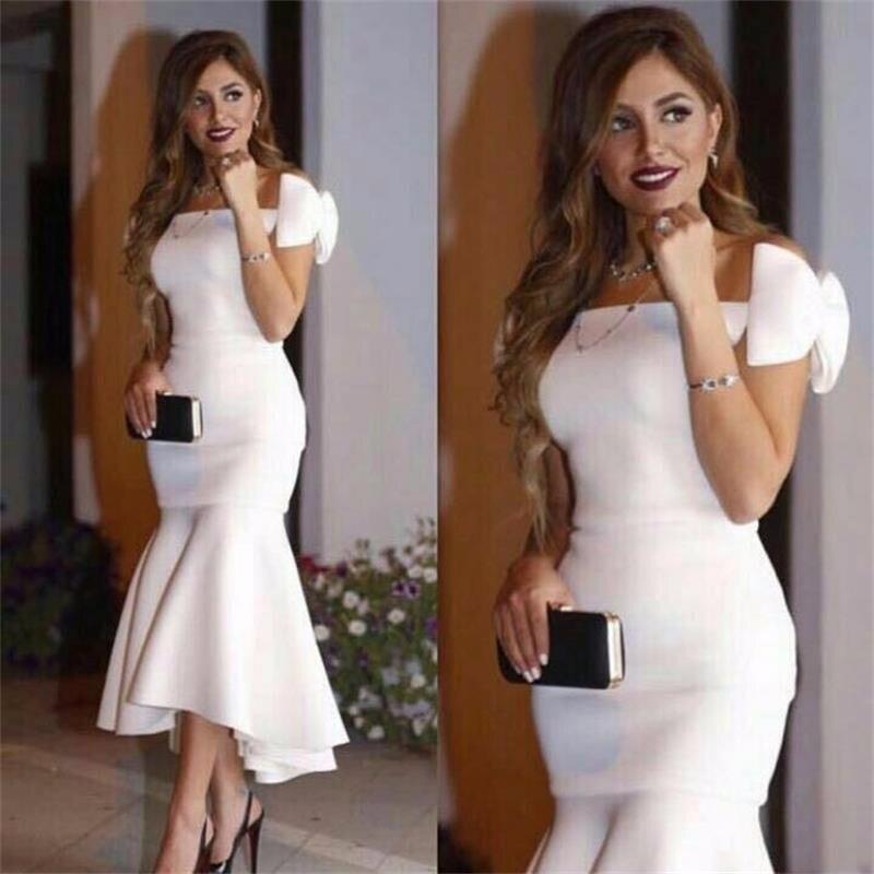 Brautjungfer Kleider Hochzeits-partykleid Angemessen Lange Arabischen Stil 2018 Sexy Boot-ausschnitt Saudi-arabien Bogen Dubai Meerjungfrau Weiß Frauen Formale Party Abendkleid Brautjungfer Kleider Mangelware