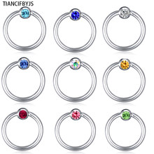 TIANCIFBYJS Piercing Nose Ring Ear Cuff Multi Color Hoop Real Septum Ear Cuff Surgical Body Jewelry Steel Body Piercing Ring(China)