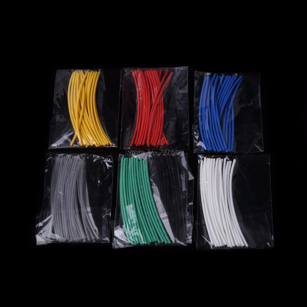 140 Pcs 7 Colors 1.0mm Heat Shrink Tube Retardant Polyolefins 2:1 Tubing Wrap Sleeve Kit Insulation Materials
