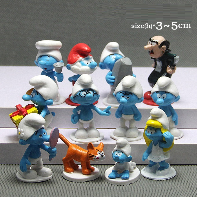 Hot sale 12 pcs / set The Elves Papa PVC figure toys Smurfette Gagamel Azrael ornaments figure action dolls Christmas gift jakks pacific movie grab ems 3 figure smurfette toys gift new