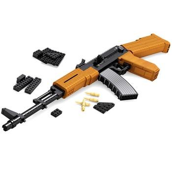 617 PCS DIY Nerfs Elite Gun AK47 Submachine Gun Machine Carbine Toy Gun Model Building Block Set Plastic Toy Gift For Children