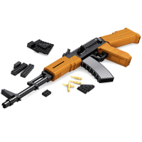 617 PCS DIY Nerfs Elite Gun AK47 Submachine Gun Machine Carbine Toy Gun Model Building Block Set Plastic Toy Gift For Children