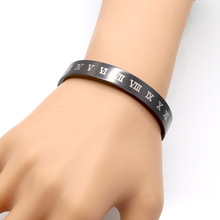 Hot Sale Delicate 10mm Wide Black Roman Numeral Bracelets & Bangles Stainless Steel Bangle Women Vacuum Plating Bangle
