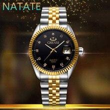NATATE Hommes D'affaires Marque De Mode CHENXI Hommes Regarder Intermétallique or Quartz En Acier Inoxydable Montre-Bracelet Montre Étanche 0140