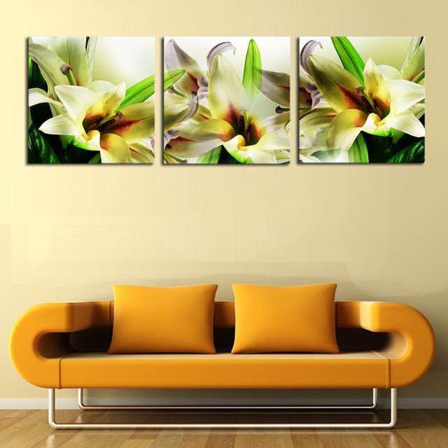 3 Panels Lily Flowers Canvas Wall Art Oil Painting White Flower ...