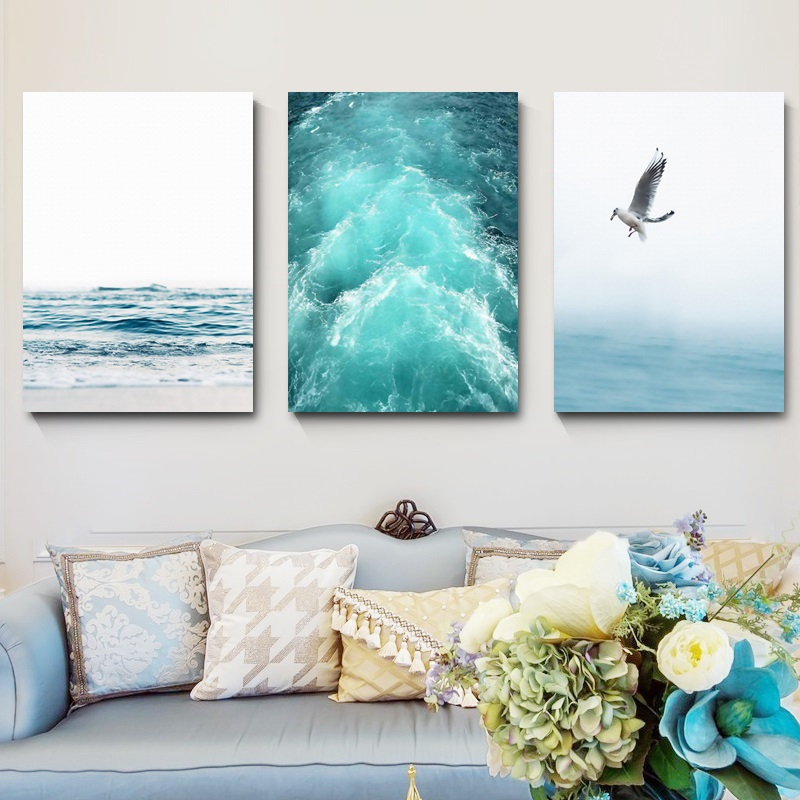 Blue-Sea-And-Sky-Nordic-Landscape-Canvas-Painting-Free-Seagull-Waves-Beach-Art-Poster-Living-Room