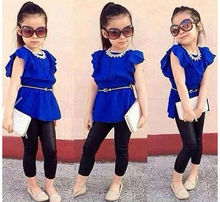 2pcs Baby Girls Kids Tee T Shirt Pants Set Childrens Clothes Outfits
