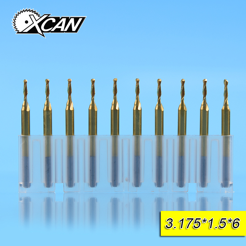 XCAN 10pcs 1.5mm TiCN coating spiral Router bits with 6mm cutting length/edge 3.175mm shank Ball nose End Mills for woodworking free shipping 10pcs 6x25mm one flute spiral cutter cnc router bits engraving tool bits cutting tools wood router bits