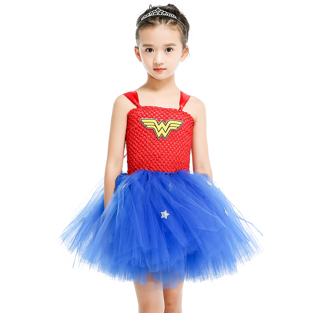 Pink Blue Girls Tulle Tutu Dress Baby Kids Cosplay Superman Dress ...