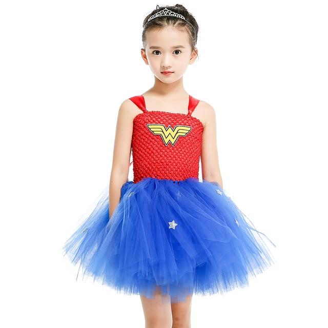 4e2f7f22ea Mulher maravilha Meninas Vestido para a Festa de Cosplay Superman Traje  Cospaly Festa Baby Girl Tutu