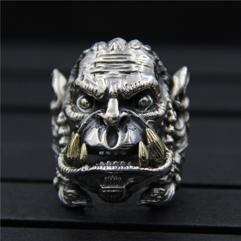 C&R 925 Sterling Silver Rings for men World of Warcraft Character Ring Opening Male Thai Silver ring Fine Jewelry Size 10-12 цены онлайн