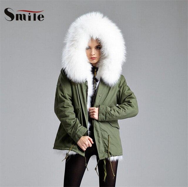 Souvent Femmes renard blanc col de fourrure veste courte Parka manteau  GF71