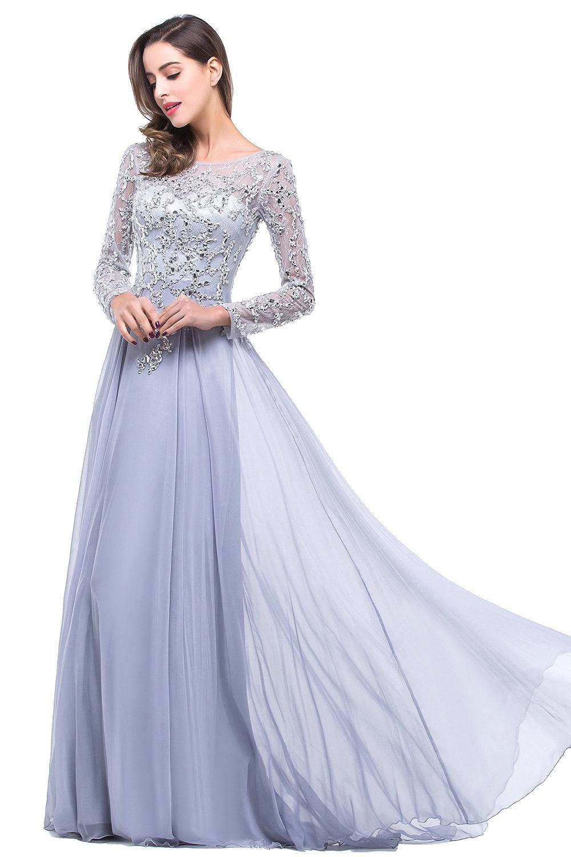 eb09479fe16 Vestido Longo Azul Luxury Beaded Long Sleeve Evening Dress 2019 Sexy Sheer  Boat Neck Chiffon Prom Dresses Robe de Soiree-in Evening Dresses from  Weddings ...
