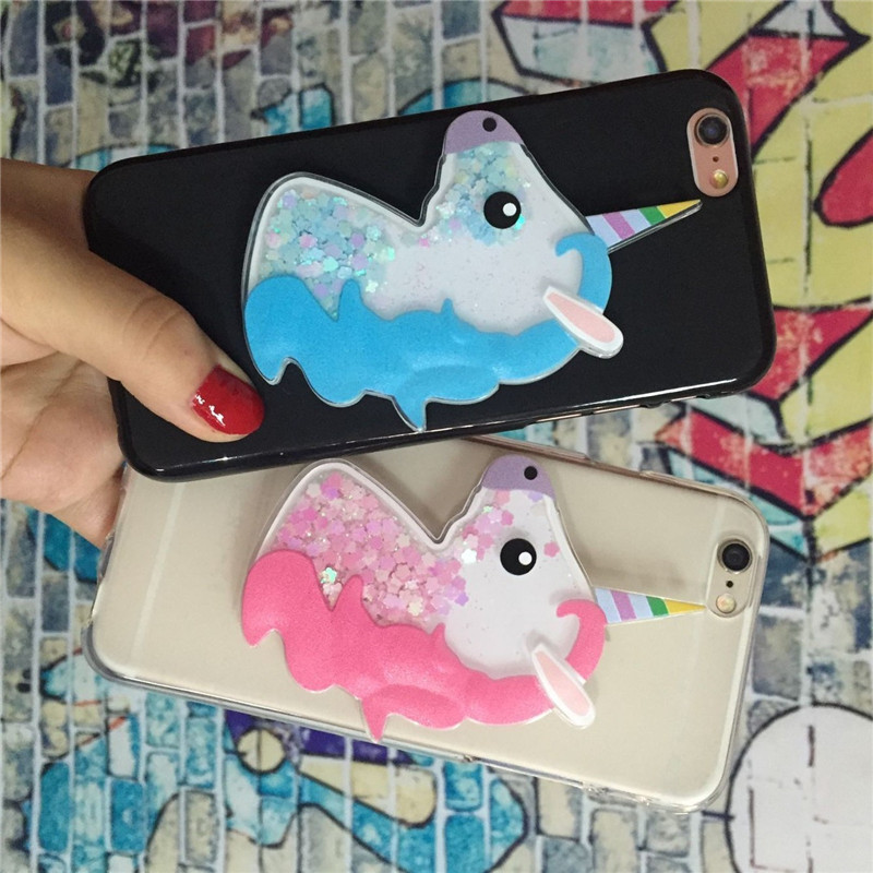 Unicorn Phone <font><b>Case</b></font> for <font><b>Huawei</b></font> Y6 II Y6II <font><b>Y7</b></font> 2017 Y9 2016 2015 Prime 2018 Pro <font><b>2019</b></font> Quicksand Cute <font><b>Girl</b></font> Back Cover Soft Silicone image